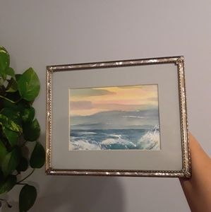 Original Watercolor Sea Painting and Antique Frame